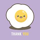Happy Kawaii Fried Egg Thank You Card by Lisa Marie Robinson