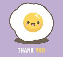 Happy Kawaii Fried Egg Thank You Card by Lisa Marie Robinson