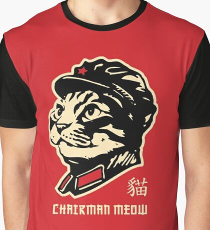 Chairman Meow Communist Cat Graphic T-Shirt