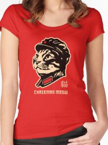 Chairman Meow Communist Cat Women's Fitted Scoop T-Shirt