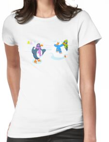 Penguins snowball fight Womens Fitted T-Shirt