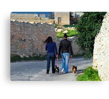 Taking the Dogs for a Walk Canvas Print