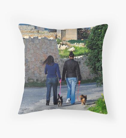 Taking the Dogs for a Walk Throw Pillow