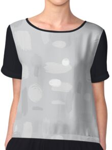 Grey Abstract Pattern Chiffon Top