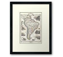 Vintage Map of South America (1850) Framed Print