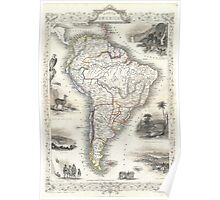 Vintage Map of South America (1850) Poster
