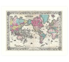 Vintage Map of The World (1852) Art Print