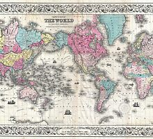 Vintage Map of The World (1852) by BravuraMedia