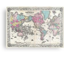 Vintage Map of The World (1852) Metal Print