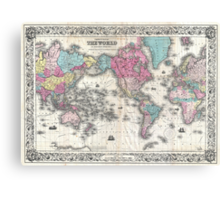 Vintage Map of The World (1852) Canvas Print