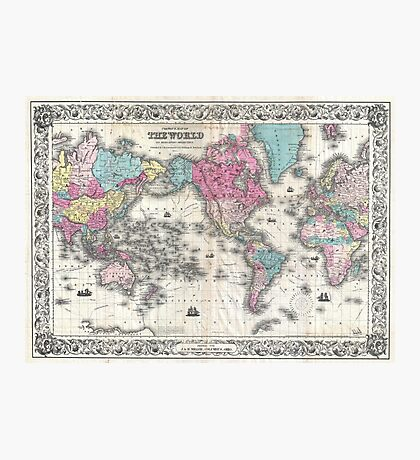 Vintage Map of The World (1852) Photographic Print
