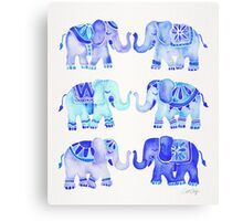 Elephants – Blue Palette Canvas Print