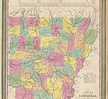 Vintage Map of Arkansas (1853) by BravuraMedia