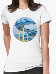 Blue Water Slide Womens Fitted T-Shirt