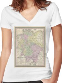 Vintage Map of Germany (1853) Women's Fitted V-Neck T-Shirt