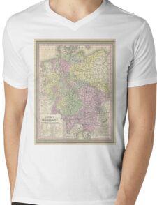 Vintage Map of Germany (1853) Mens V-Neck T-Shirt