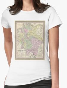 Vintage Map of Germany (1853) Womens Fitted T-Shirt