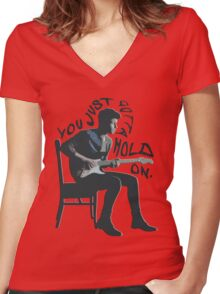 Shawn Mendes Hold On Typography Women's Fitted V-Neck T-Shirt