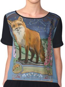 Fox and Foxgloves Constellation Vulpecula Art Nouveau Style Chiffon Top