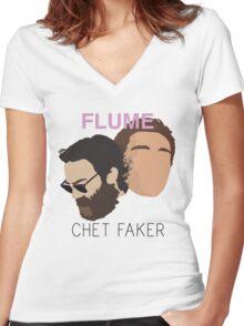 Chet Faker & Flume - Minimalistic Print Women's Fitted V-Neck T-Shirt