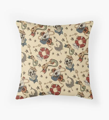 Navy Sailor Tattoo Repeating Pattern Throw Pillow