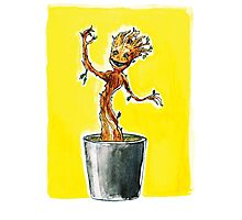 I am Dancing Groot - in Watercolour! Photographic Print
