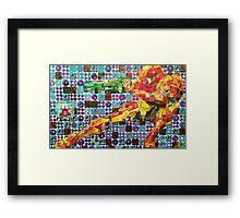 Samus Gridwork with Metroid Framed Print