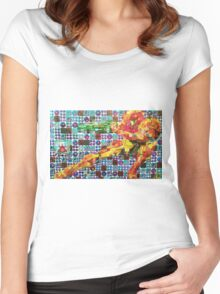 Samus Gridwork with Metroid Women's Fitted Scoop T-Shirt