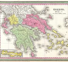 Vintage Map of Greece (1853) by BravuraMedia