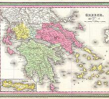 Vintage Map of Greece (1853) by BravuraMedia