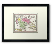 Vintage Map of Greece (1853) Framed Print