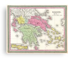 Vintage Map of Greece (1853) Canvas Print