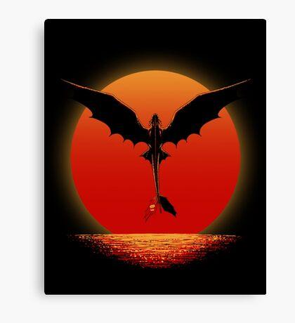 Toothless on Sunset Canvas Print