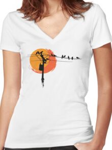 Birds on Wires with Sunset Women's Fitted V-Neck T-Shirt