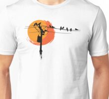 Birds on Wires with Sunset Unisex T-Shirt