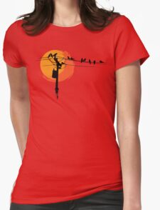 Birds on Wires with Sunset Womens Fitted T-Shirt