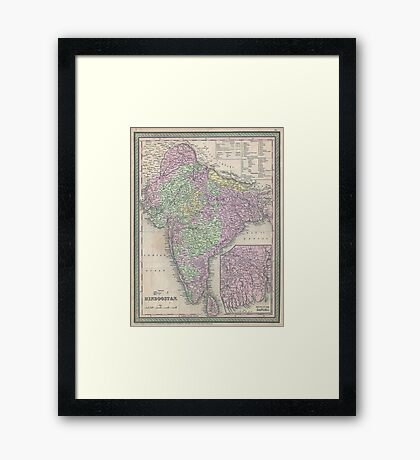 Vintage Map of India (1853) Framed Print