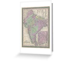 Vintage Map of India (1853) Greeting Card
