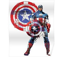 Captain America Gridwork and Logo Poster