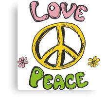 Hand drawn hippie background Canvas Print