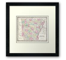 Vintage Map of Arkansas (1855)  Framed Print