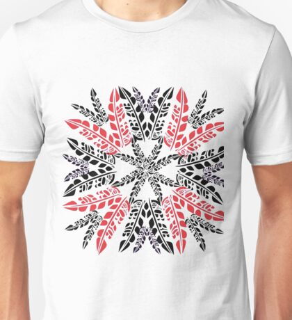 Black & Red Feathers on White Unisex T-Shirt