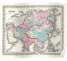 Vintage Map of Asia (1855)  Poster