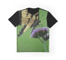 Papilio Glaucus Eastern Tiger Swallowtail Butterfly On Verbena Bonariensis Purpletop Vervain - Pinelawn Memorial Park And Garden Mausoleums | Farmingdale, New York Graphic T-Shirt