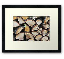 heap firewood background Framed Print