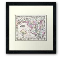 Vintage Map of Maryland (1855)  Framed Print