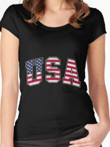 USA Vintage Flag Women's Fitted Scoop T-Shirt