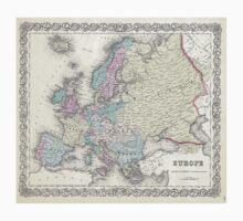 Vintage Map of Europe (1855)  T-Shirt
