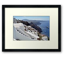28.09.2016 Photography of traditional and famous houses and churches with blue domes over the Caldera, Aegean sea in Santorini island, Greece. Framed Print