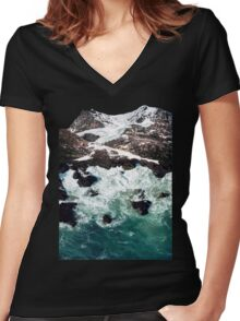 Sea and Mountains Women's Fitted V-Neck T-Shirt